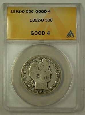 1892-O US Barber Silver Half Dollar 50c Coin ANACS Good-4 *Key Date For Series*