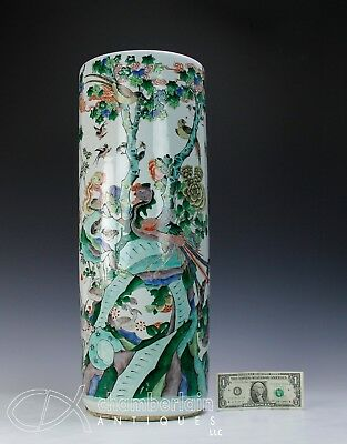 Large Impressive Antique Chinese Famille Verte Porcelain Umbrella Stand Vase