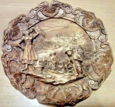 Vintage carved wooden plaque possibly Black Forest German Austrian Grape harvest