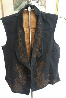 Pre-Civil War Antique Men's  Black VEST Dated 1858 Buckle Back Rare