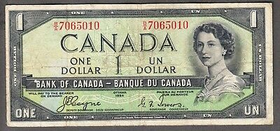 1954 Bank of Canada - $1.00 Devil Face Note - Coyne Towers - Fine - B/A 7065010