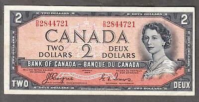 1954 Bank of Canada - $2.00 Devil Face Note - Coyne Towers - VF - D/B 2844721