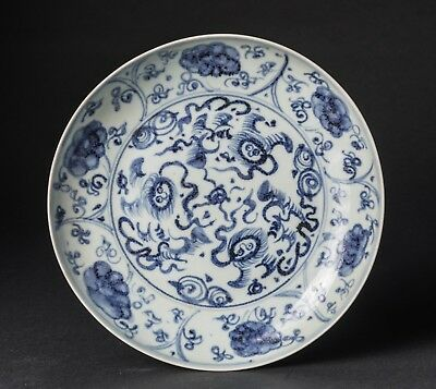 Chinese Antique Late Ming Blue & white Porcelain Dish