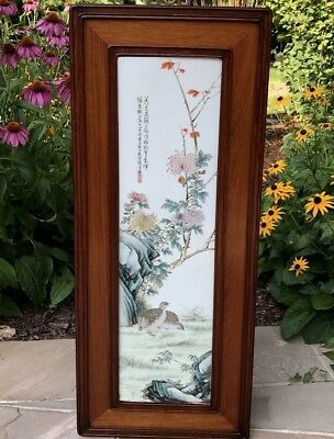AUTH c1930 CHINESE FAMILLE ROSE QUAIL BIRD WALL PLAQUE DENG BISHAN EIGHT FRIENDS