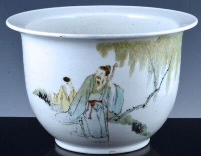FINE CHINESE REPUBLIC SCHOLAR w BOY LANDSCAPE PLANTER VASE SIGNED WITH SCRIPT