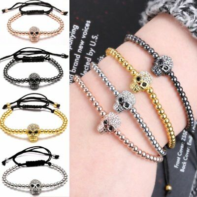 Fashion Charm Men Women Unisex  Crystal Skull Beads Braided Adjustable Bracelet