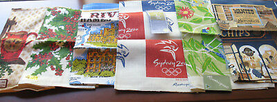 Vintage Lot of Six (6) Linen Dish Tea Towels Varied Prints and Themes New