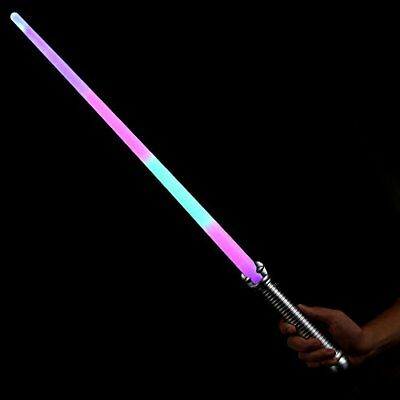 Fun Central I514, 6 Pcs 28 Inches Rainbow LED Light Saber Sword, Light Up Sword,