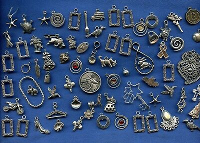 Large lot of assorted Silver tone charms  dangles parts & pieces