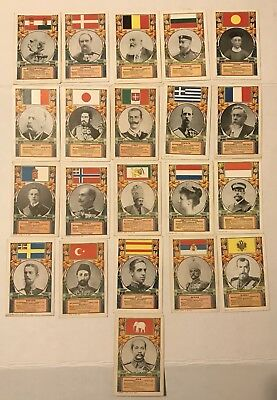 Set Of 21 F H Alt 1909 Royalty Postcards Flags Rulers Vgc, Never Used, Nr!