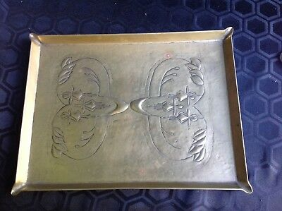 c1910 Arts & Crafts Brass Tray Stylized FUSCHIA Embossed Design SECESSIONIST
