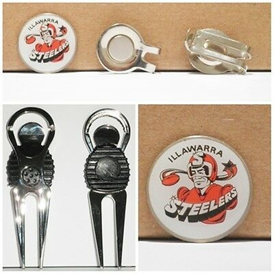 2 only ILLAWARRA STEELERS  GOLF BALL MARKERS +  A NICE  DIVOT TOOL &  HAT CLIP