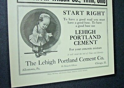 Vintage 1912 ad ~The LEHIGH PORTLAND CEMENT CO. ~ Allentown, PA & Chicago, IL