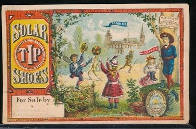 SOLAR TIP SHOES Victorian Trade Card CHILDREN PLAYING