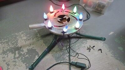 VINTAGE  Metal LIGHTED CHRISTMAS TREE STAND 8 C6 Bulbs Works