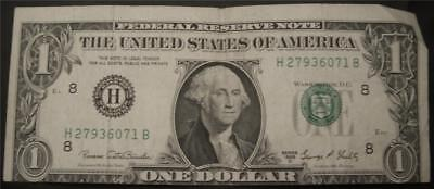 1969D (H) $1 Federal Reserve Note - ERROR Off Center Cut  No Holes Tears Writing