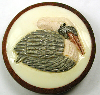 Lg Sz Hand Carved Button Detailed Pelican Image Design 1 & 1/2""