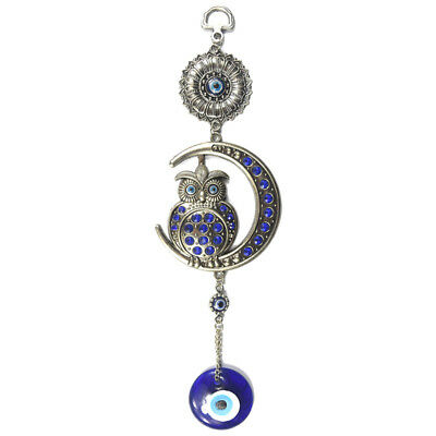 Turkish Blue Evil Eye Fish Owl Moon Wall Hanging Pendants Amulets Blessing Decor