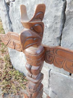 LRG VINTAGE SALISH SQUAMISH INDIAN NW COAST TOTEM POLE - by PAT NATRALL 3 FIGS.