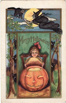 Halloween Postcard, Published By Whitney Girl Lifting Off Jol, Witch, Used 1914.