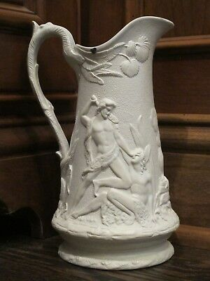 Antique Parian Ware English Pitcher with Roman Warrior and Mourning Scene