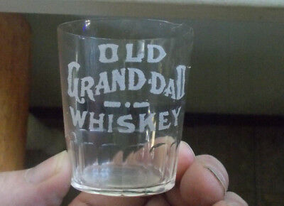 Old Grand Dad Whiskey Etched Pre Pro Shot Glass Paneled Base Hobbs,ky 1907 Era