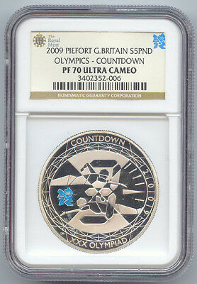 2009 Great Britain Silver Piefort 5 Pounds,Countdown Olympics,NGC PF70 Ultra Cam