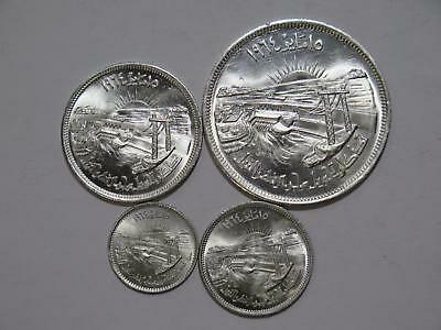Egypt 50 25 10 5 Piastres Diversion Nile Type Set Silver World Coin Collection