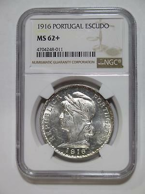 Portugal 1916 1 Escudo Silver Crown Type Ngc Ms62+ Old World Coin Collection Lot