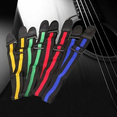 Adjustable Nylon Guitar Straps Electric Bass Guitar Straps With PU Leather Ends