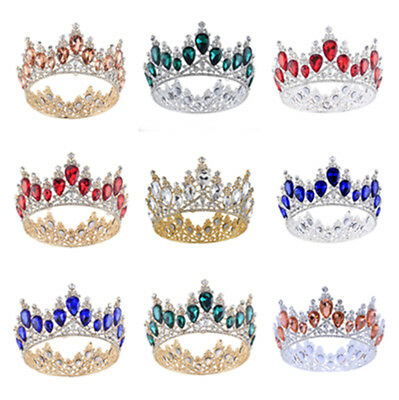 "3"" Baroque Crystal Queen Crown Tiara Wedding Bridal Rhinestones Headband Jewelry"