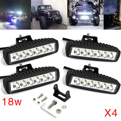4x 6inch 30W LED Work Driving Light Bar Cree Flood Beam Offroad 4WD Reverse 4x4