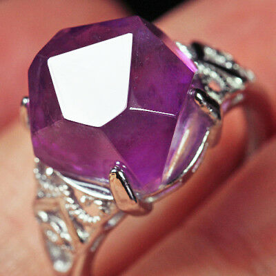 21.1Ct 100% Natural 18K Gold Plated Purple Amethyst Crystal Ring UDDS139