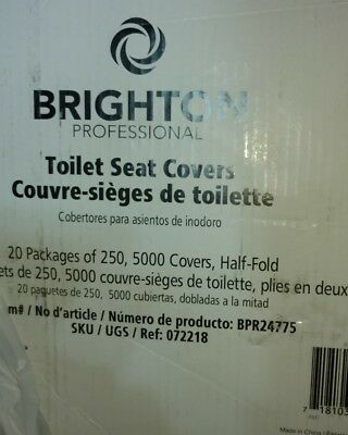 Brighton Professional Paper Toilet Seat Covers- 5000 Half Fold Covers Total