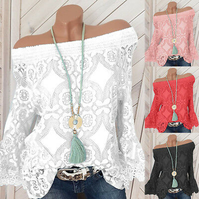 Women Floral Lace Bell Sleeve Tops off the shoulder Summer T-Shirt Blouse S-5XL