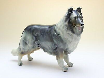 Blue Merle Rough Collie Porcelain Dog Figurine NEW Reproduction Made in Japan