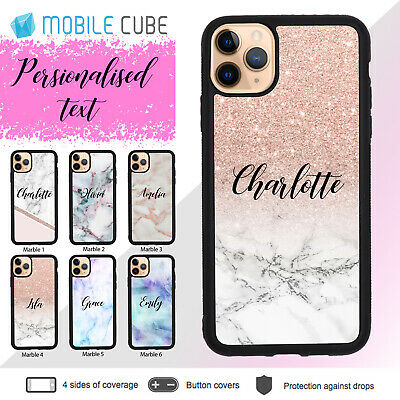 iPhone XS Max X XR 8 7 6s Shockproof Case Marble Personalised Name Slim Bumper