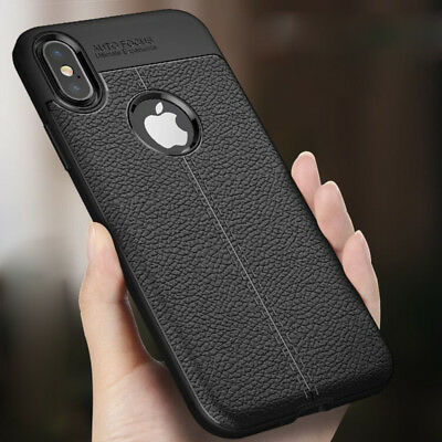 For iPhone X XR XS Max SE 6S 7 8 Plus Rubber TPU Leather Slim Back Case Cover