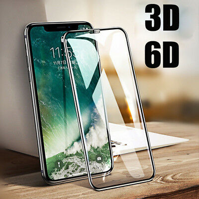 For iPhone XS Max XR X 3D/6D Curved Screen Protector Full Cover Tempered Glass