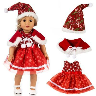 Doll Clothes Christmas Dress Kits Outfit For 18'' Inch American Girl Xmas Gift