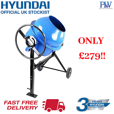 Hyundai Electric Portable Cement Mixer 160litre 240v 650w Concrete Mixer HYCM160