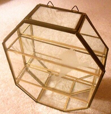 Vintage Octagonal Glass & Brass Curio Cabinet Shelf Etched Front Mirrored Back