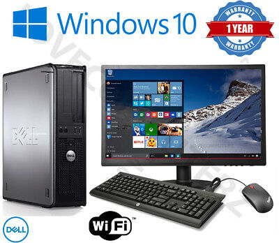Full Dell/hp Dual Core Desktop Tower Pc & Tft Computer System Windows 10 & 8Gb