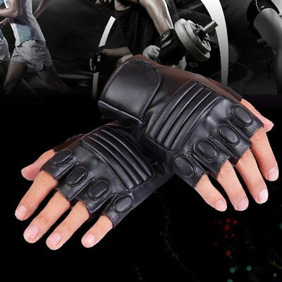 Cool Punk Men Women Soft Leather Fingerless Driving Motorbicycle Biker Gloves