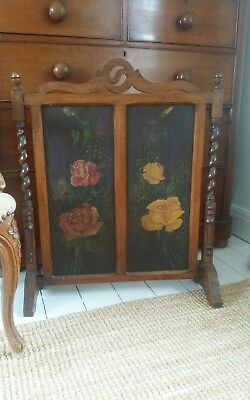 Victorian Mahogany  Roses Painted Fire Screen