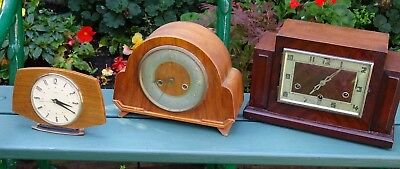 3 Vintage Mantle Clocks For Spares / Repair Including Westminster Chime