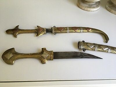 """Pair Of Vintage Curved Swords/ Daggers With Scabbards 17"""""""