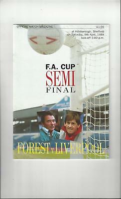 Nottingham Forest v Liverpool FA Cup Semi Final Football Programme 1988