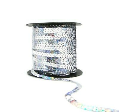 Holographic Silver 6mm Sequin Trimming String Flat Round Costume (1/3/5/10/90M)