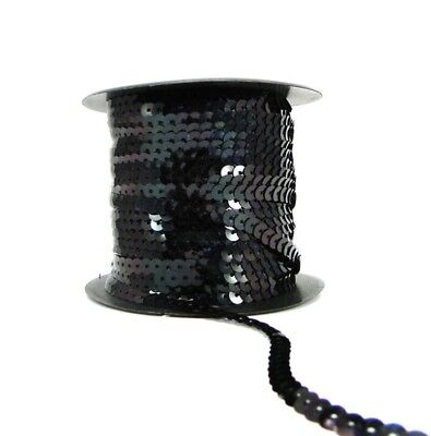 Holographic Black 6mm Sequin Trimming String Flat Round Costume (1/3/5/10/90M)